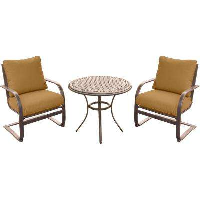 3-Piece Outdoor Bistro Set with Aluminum Spring Chairs and Round Cast-Top Table with Desert Sunset Cushions