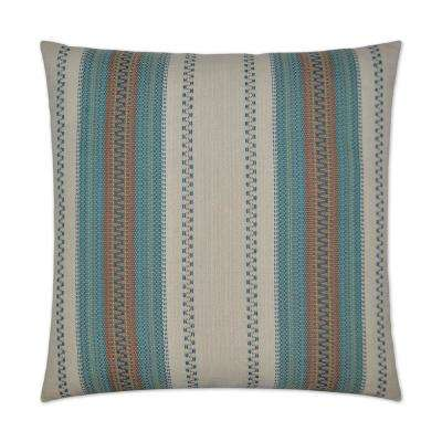 Rigadoon Aqua Feather Down 24 in. x 24 in. Decorative Throw Pillow