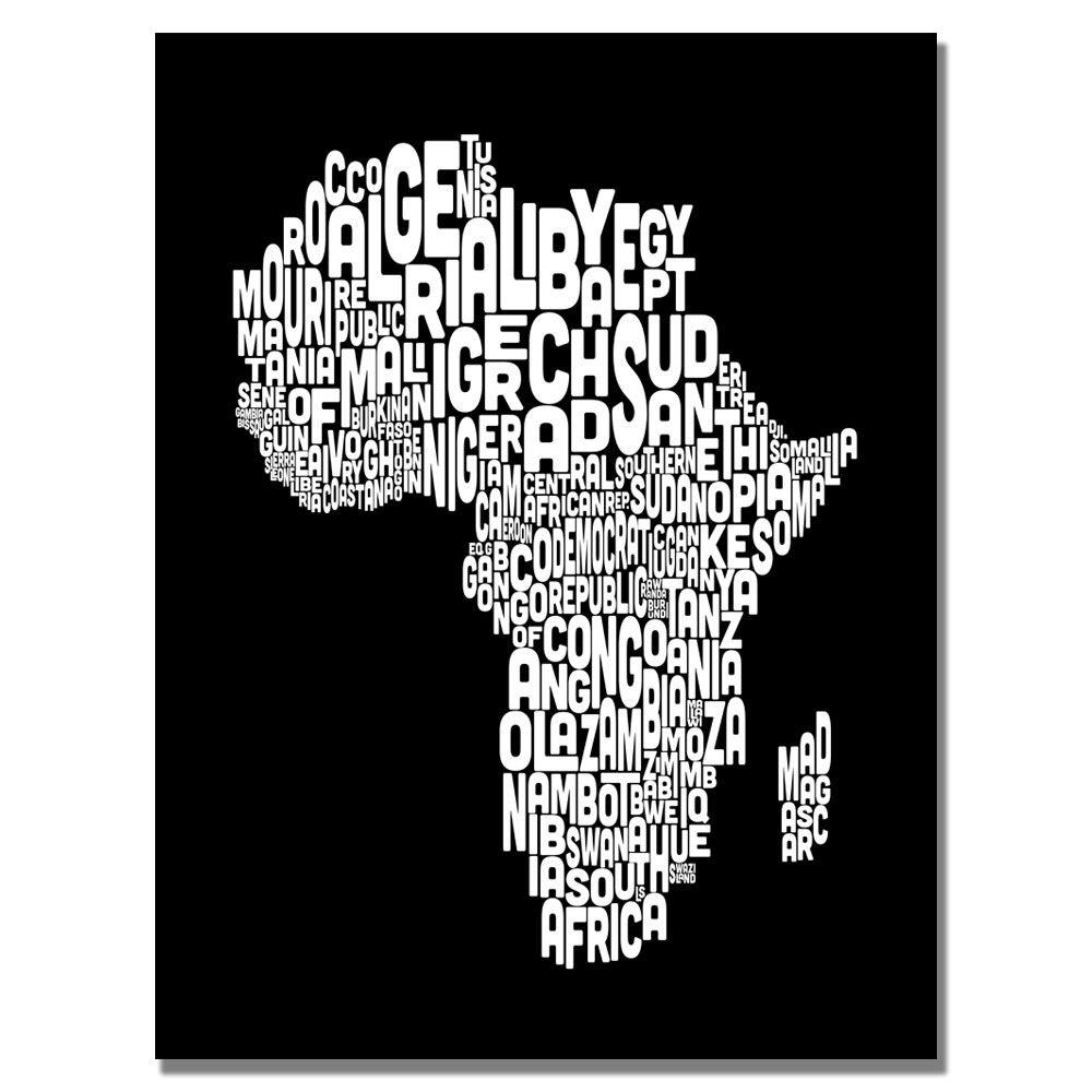 18 in. x 24 in. Africa Font World Map Canvas Art