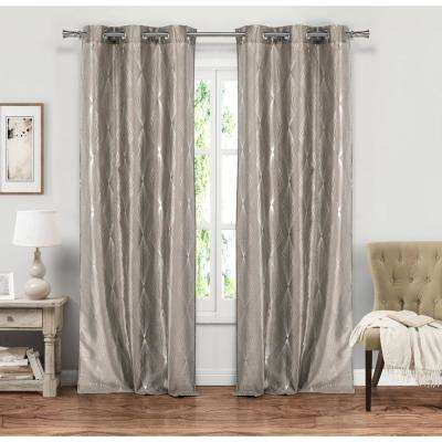 Kofi Taupe Grommet Panel Pair - 37 in. W x 84 in. L in (2-Piece)