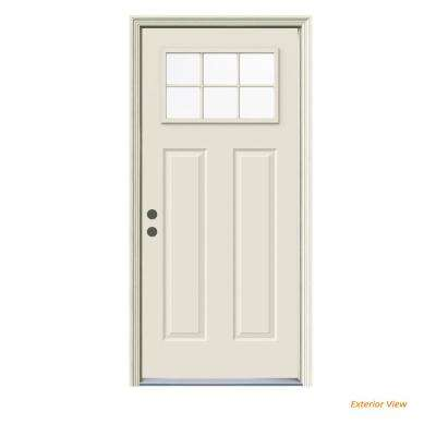 32 in. x 80 in. 6 Lite Craftsman Primed Steel Prehung Right-Hand Inswing Prehung Front Door