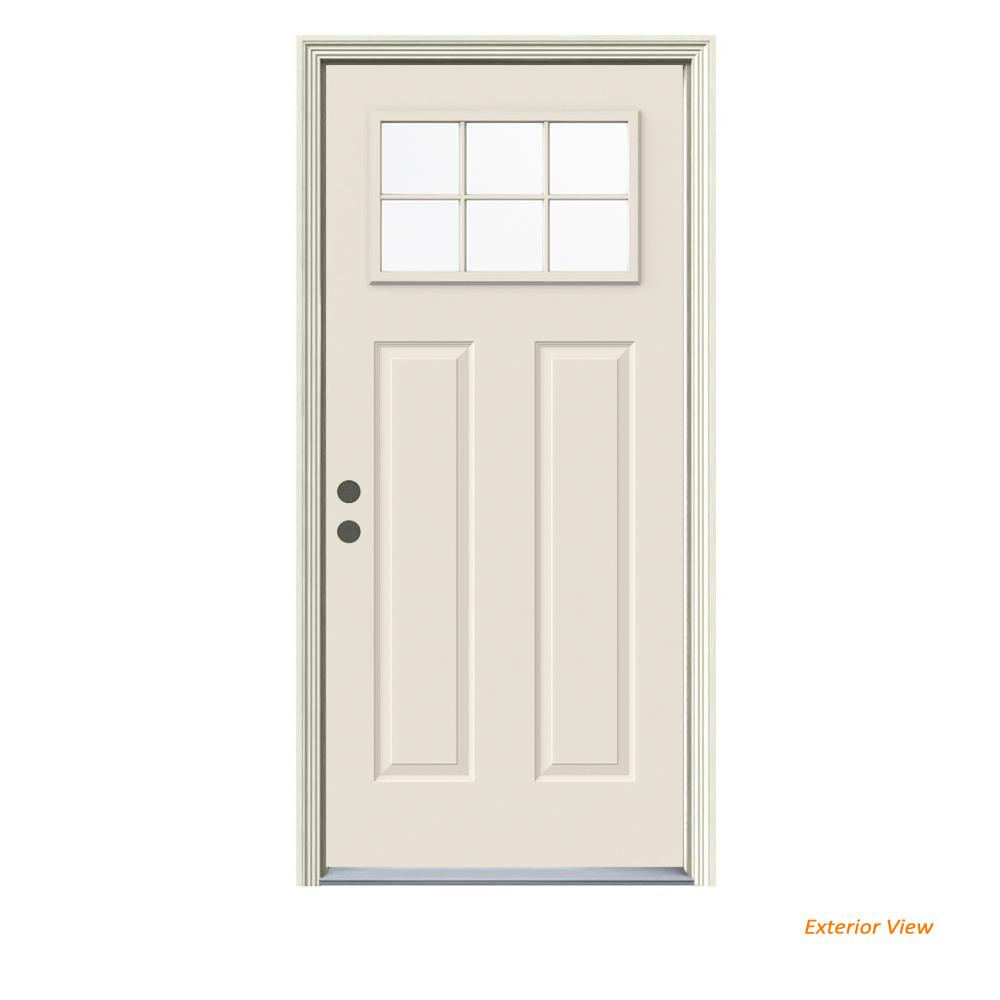 JELD-WEN 36 in. x 80 in. Primed Right-Hand Inswing 6-Lite Clear Steel Prehung Front Door