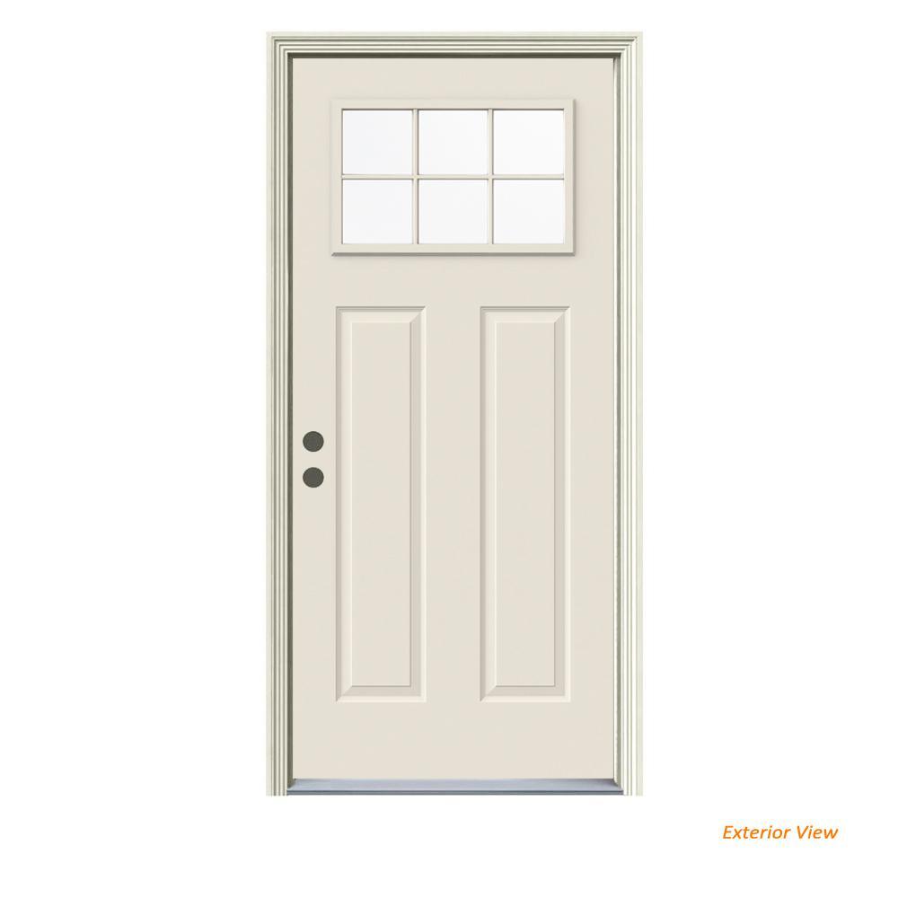 32 in. x 80 in. 6 Lite Craftsman Primed Steel Prehung Right-Hand Inswing Front Door w/Brickmould