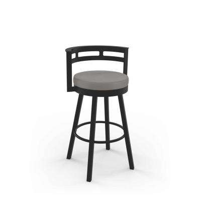 Render 26 in. Taupe Grey Faux Leather / Dark Brown Metal Swivel Counter Stool