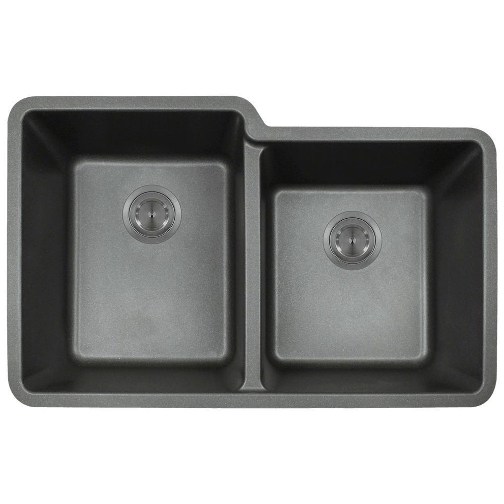 Black Kitchen Sink Home Depot: MR Direct Undermount Granite Composite 32.5 In. 0-Hole