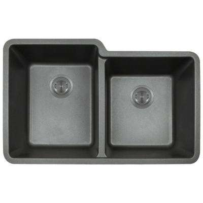 Undermount Granite Composite 32.5 in. 0-Hole Double Bowl Kitchen Sink in Black