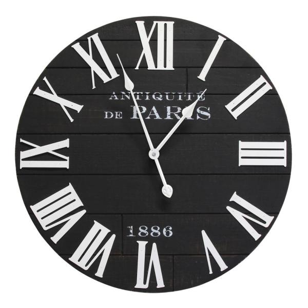 24 in. Vincent Black and White Wood Wall Clock