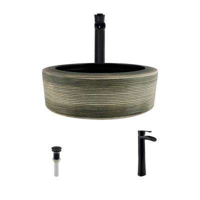 Ceramic Vessel Sink in Gray and Black with 731 Faucet and Pop-Up Drain in Antique Bronze