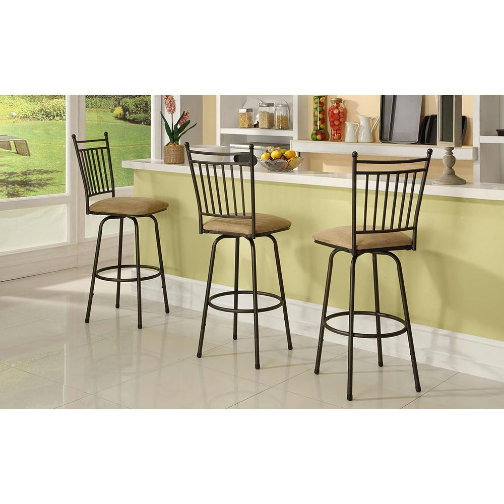 Linon Adjustable Height Brown Swivel Cushioned Bar Stool Product Picture