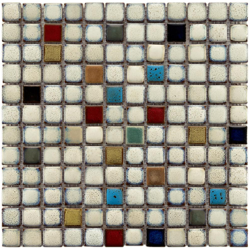 Merola Tile Essence Square Cascade 12 in. x 12 in. x 8 mm Porcelain Mosaic Tile