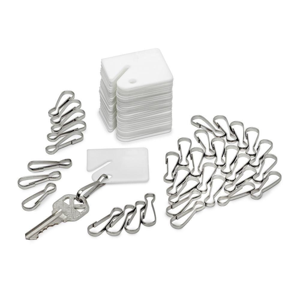 AdirOffice White Plastic Key Tags (100-Pack)