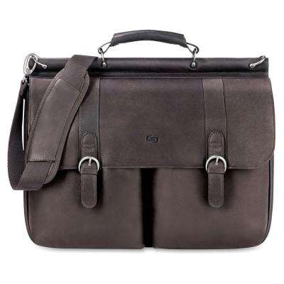 16 in. Classic Espresso Leather Notebook Briefcase with Handle and Shoulder Strap