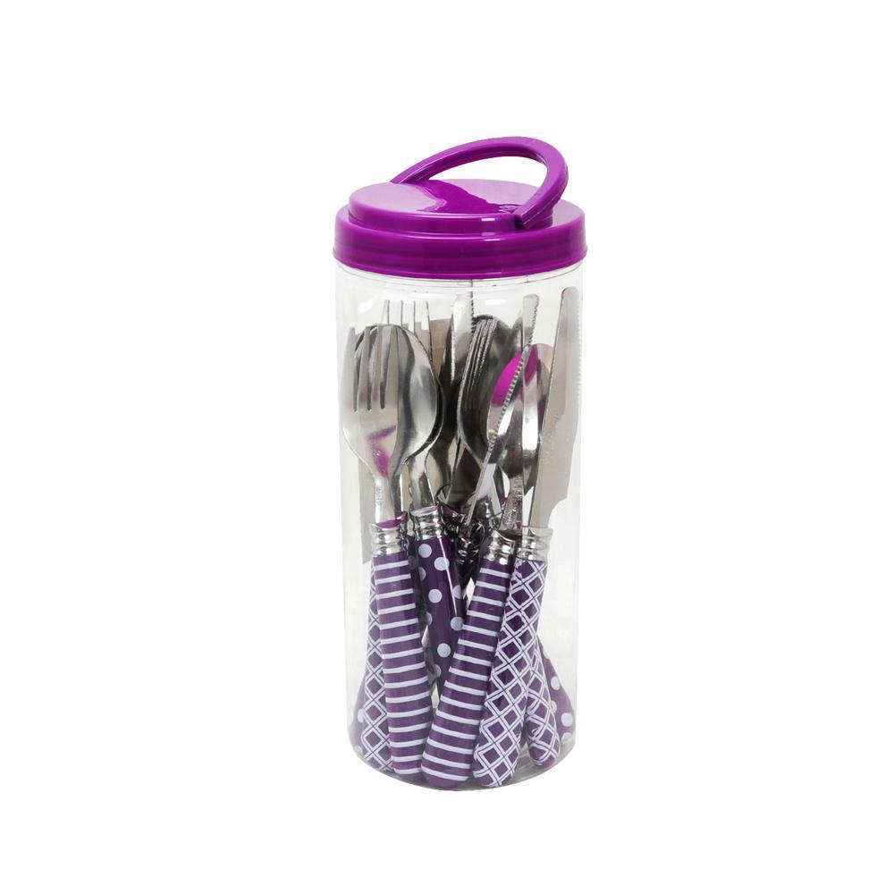 Retro Diner 12-Piece Purple Flatware Set