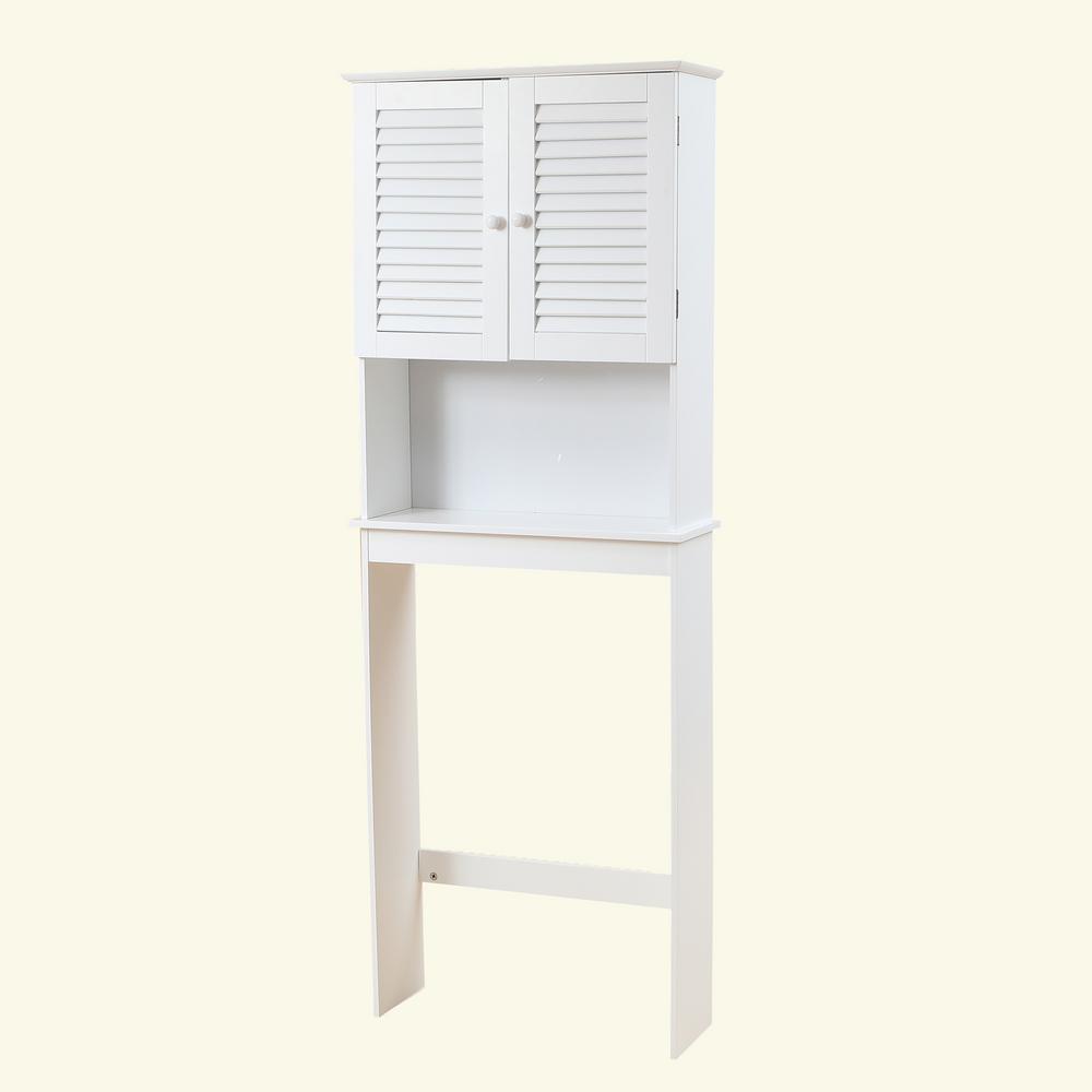 23.6 in. W White Shutter-Door Bathroom Over the Toilet Cabinet