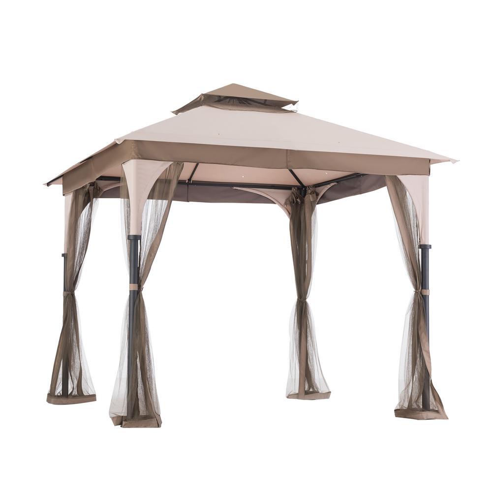 Sunjoy 8 ft. x 8 ft. Brown Steel Gazebo-110101040 - The Home Depot