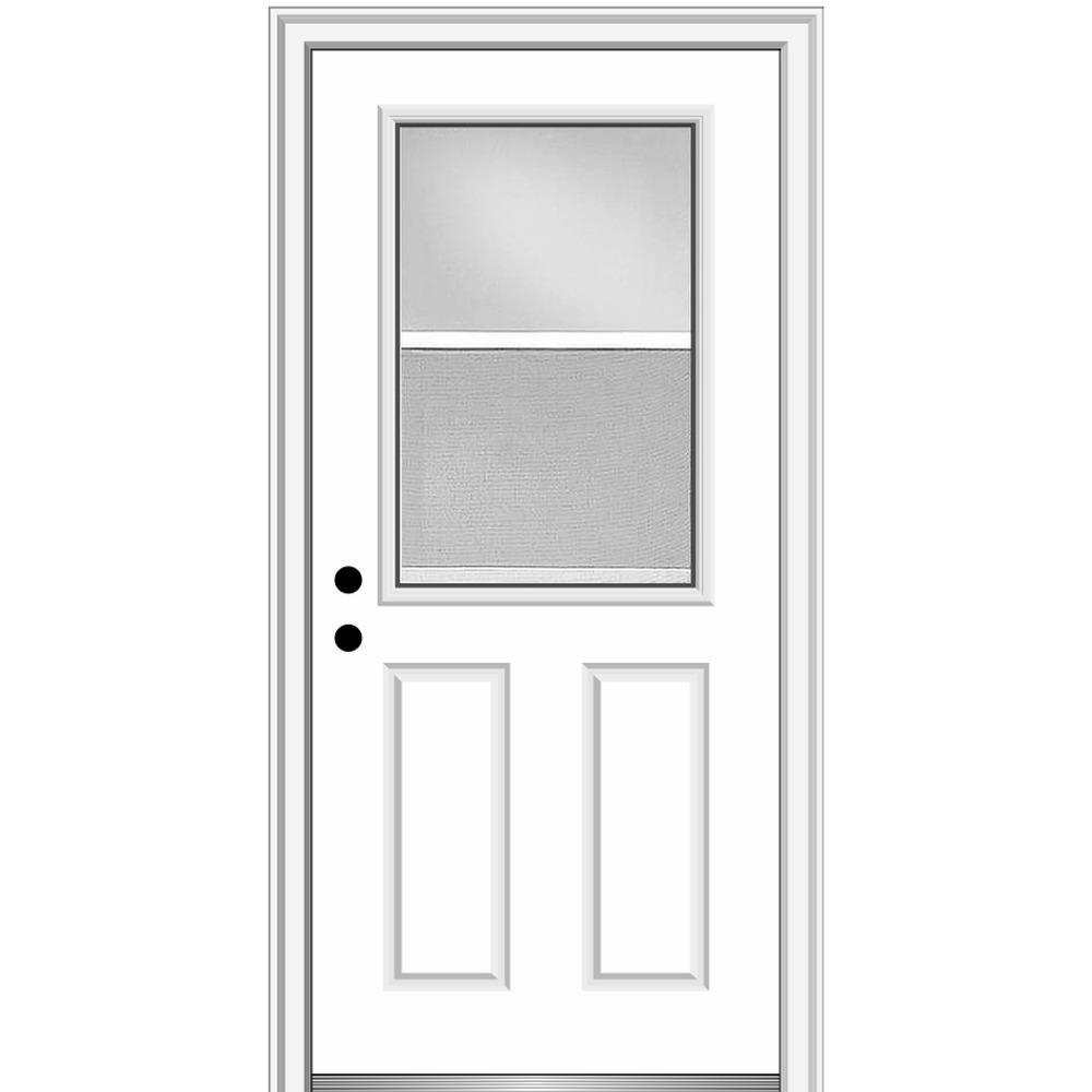 MMI Door 32 in. x 80 in. Classic Right-Hand Inswing 1/2-Lite Clear Vented Primed Steel Prehung Front Door on 4-9/16 in. Frame