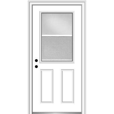32 in. x 80 in. Classic Right-Hand Inswing 1/2-Lite Clear Vented Primed Steel Prehung Front Door on 6-9/16 in. Frame