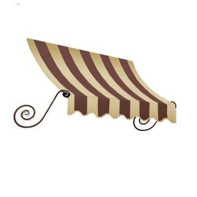 8 ft. Charleston Window/Entry Awning (18 in. H x 36 in. D) in Brown/Tan Stripe