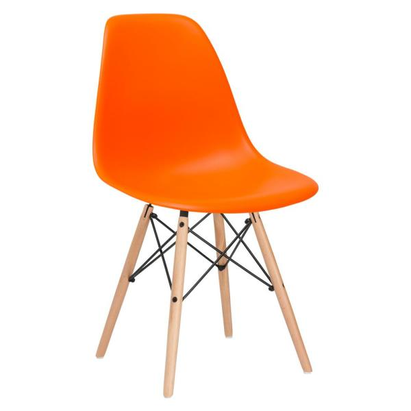 Poly and Bark Vortex Orange Side Chair with Natural Legs HD-105-NAT-ORA