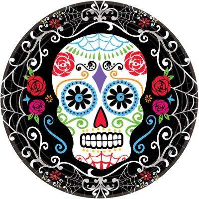 7 in. x 7 in. Day of the Dead Round Paper Plates (18-Count, 3-Pack)