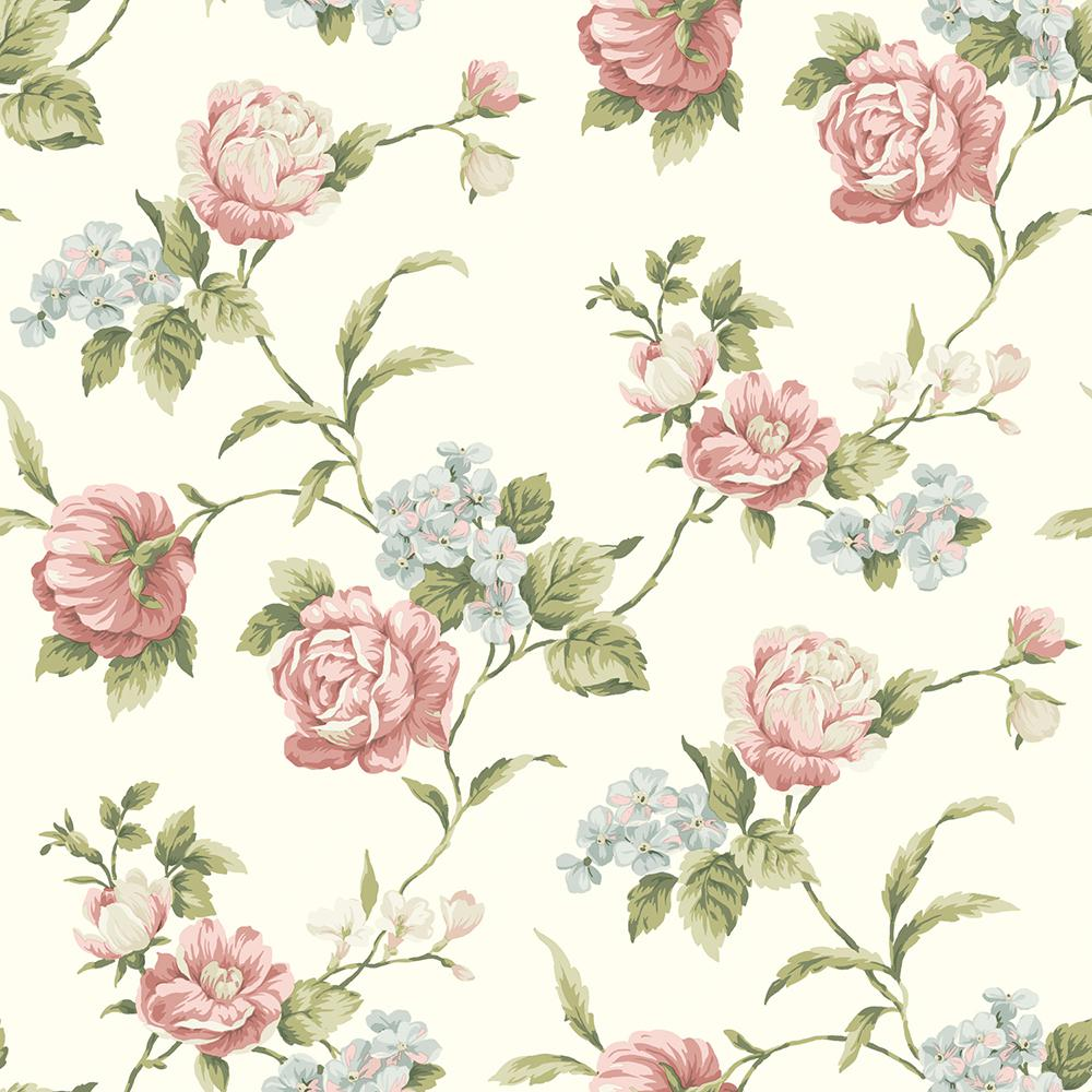 Chesapeake Gleason White Floral Rose Trail Wallpaper Sample