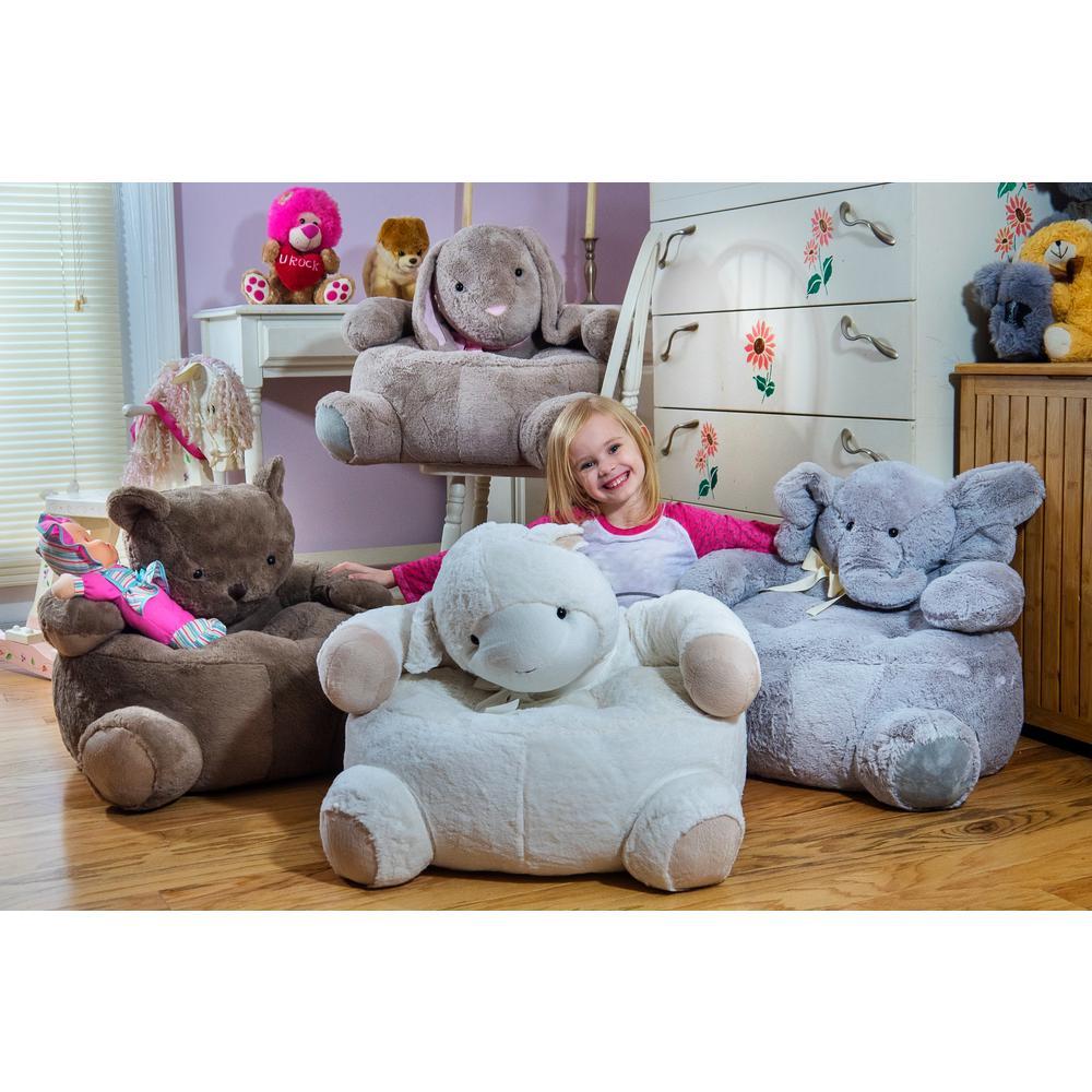Gray Plush Kids Elephant Chair