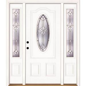 Feather River Doors 63.5 in. x 81.625 in. Medina Brass 3/4 Oval Lite Unfinished Smooth Right-Hand Fiberglass Prehung Front Door w/ Sidelites-131105-3A3 ...  sc 1 st  The Home Depot & Feather River Doors 63.5 in. x 81.625 in. Medina Brass 3/4 Oval ... pezcame.com