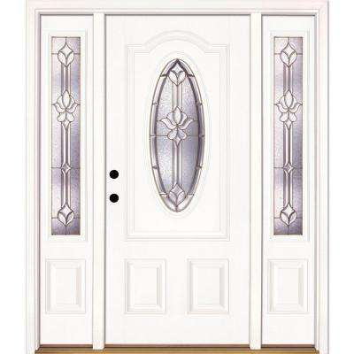 63.5 in. x 81.625 in. Medina Brass 3/4 Oval Lite Unfinished Smooth Right-Hand Fiberglass Prehung Front Door w/ Sidelites