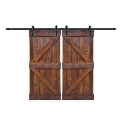 72 in. x 84 in. K-Series Dark Walnut Wood Solid Knotty Pine Double Interior Sliding Barn Door Slab with Hardware Kit
