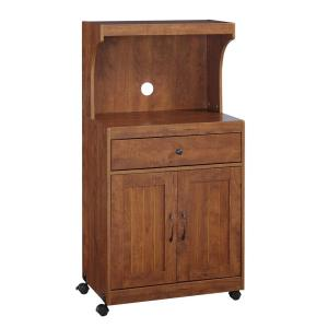 Home Source Kevin Oak Microwave Cart with Double Door Cabinet, 1-Drawer and Top Shelf