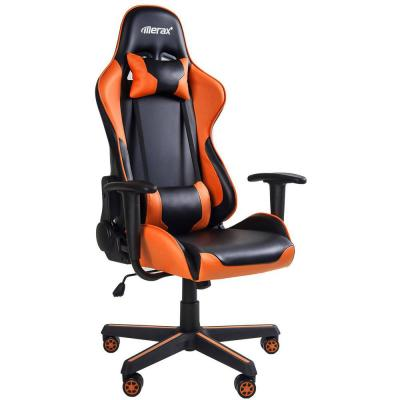Orange High Back Gaming Chair with Lumbar Support and Headrest