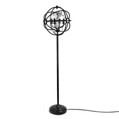 61 in. Black Indoor Floor Lamps with Sphere Shade