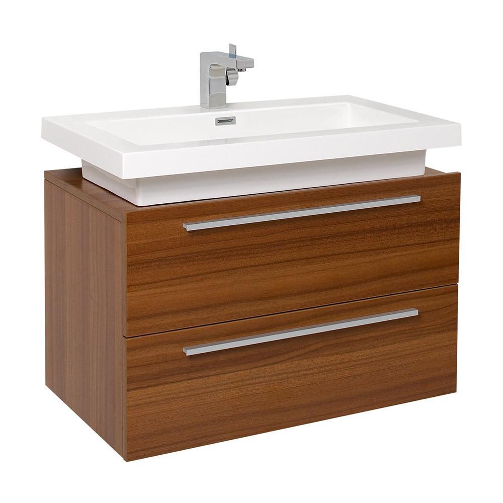 Medio 32 in. Bath Vanity in Teak with Acrylic Vanity Top