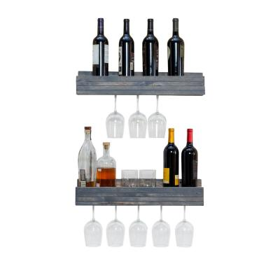 Rustic Luxe 5 in. x 24 in. x 5 in. Gray Pine Floating Glass Decorative Wall Shelf Rack (Set of 2)