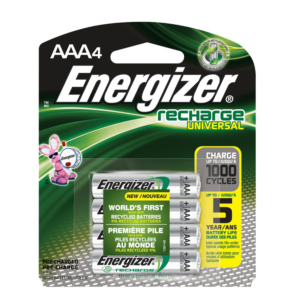 4-pack of Energizer Recharge Universal 700 mAh NiMH AAA rechargeable batteries