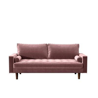 Civa 57.8 in. Tea Rose Velvet 2-Seater Loveseat with Removable Cushions