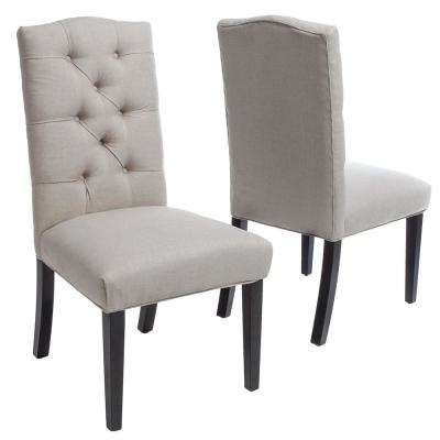 Berlin Natural Fabric Tufted Dining Chairs (Set of 2)
