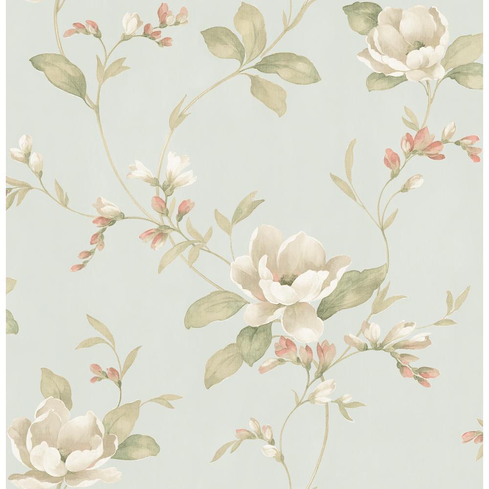 Brewster Caen Sage Floral Scroll Wallpaper 2734-003045