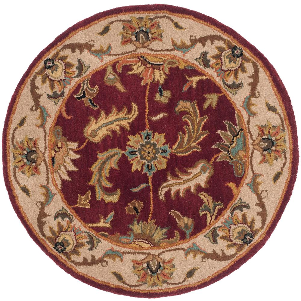 Hand Tufted Agra Red Gold Wool Rug 8 Round: Safavieh Heritage Red/Ivory 8 Ft. X 8 Ft. Round Area Rug