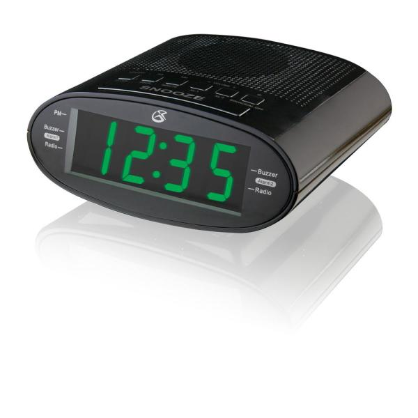 1.2 in. Black LED Dual Alarm Clock Radio with AM/FM