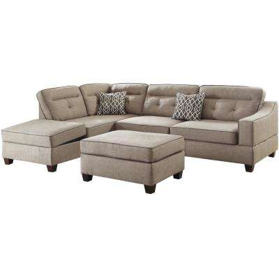 sectionals living room furniture. Florence 3 Piece Espresso Sectional Sofa in Leatherette with Ottoman Sectionals  Living Room Furniture The Home Depot