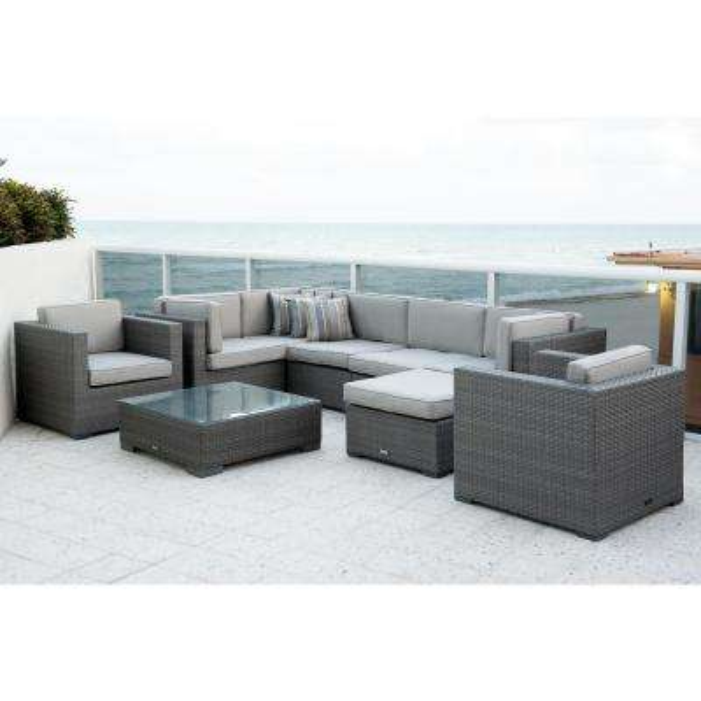 Bellagio Grey 6-Piece Wicker Outdoor Sectional with Sunbrella Grey Cushions