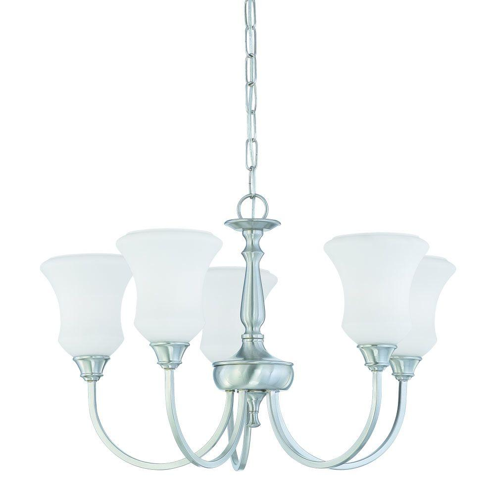 Thomas Lighting Winston 5-Light Brushed Nickel Chandelier with Etched Glass Shade-DISCONTINUED