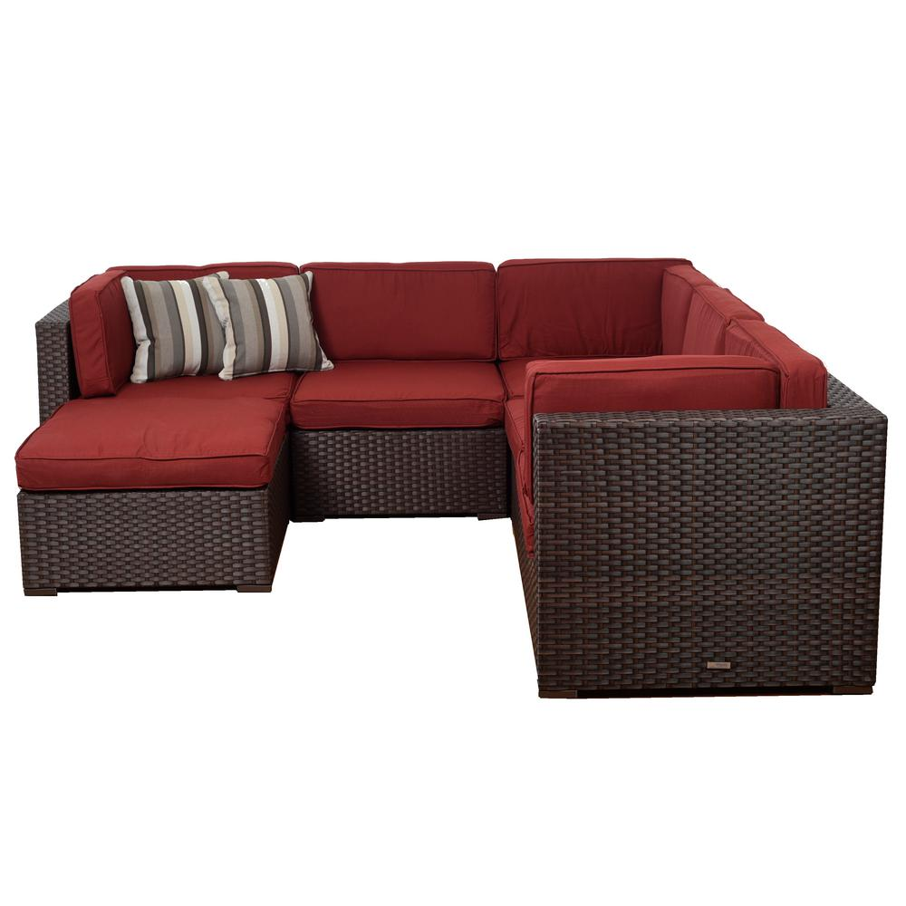 Bellagio Brown 6-Piece Wicker Outdoor Sectional Set with Burgundy Cushions