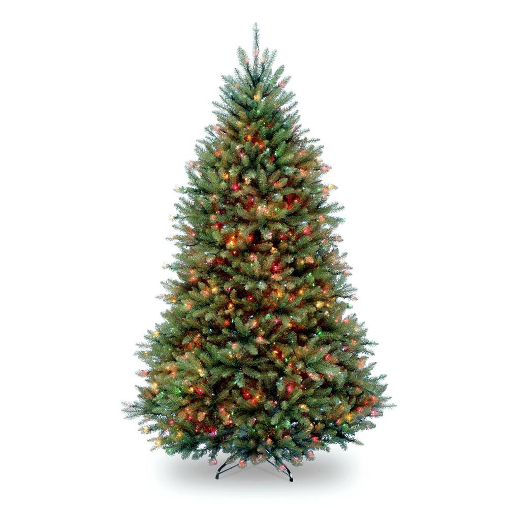 National Tree Company 7 5 Ft Pre Lit Dunhill Fir Hinged Artificial Christmas Tree With Multi Color Lights