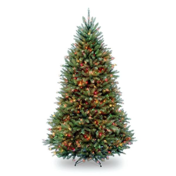 7.5 ft. Pre-Lit Dunhill Fir Hinged Artificial Christmas Tree with Multi-Color Lights