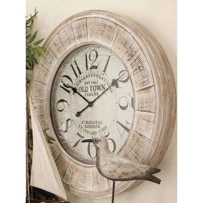 "31 in. Vintage ""Old Town Clocks"" Round Wall Clock"
