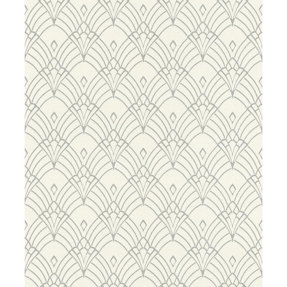 8 in. x 10 in. Rooney White Fan Wallpaper Sample