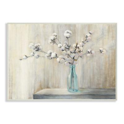"10 in. x 15 in. ""Beautiful Cotton Flower Grey Brown Painting"" by Julia Purinton Wood Wall Art"