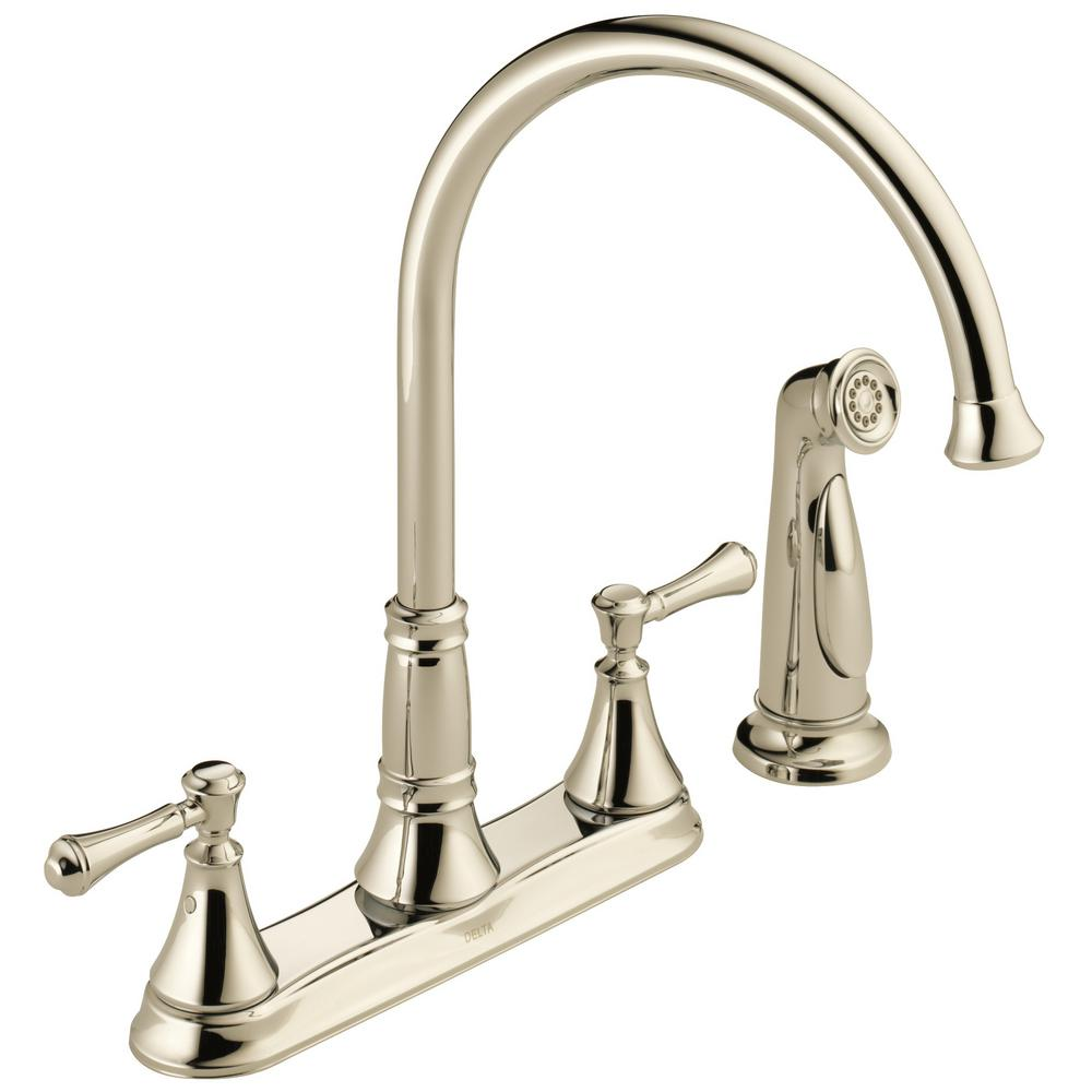 Delta Cassidy 2-Handle Standard Kitchen Faucet with Side Sprayer in  Polished Nickel